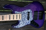 LEFTY!! Purple Flame KM5 -Swamp Ash - Maple -Bartolini Pickups- Optional Preamps