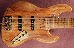 BMJ5- SOLID Spalted top with Flame - Bartolini Pickups and Bassmods MC3