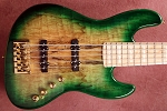 Fred Hammond Signature Bass- Spalted Vintage Green. - Bartolini B-Axis - -Swamp Ash - -Pike Audio Blue OR RED Box option