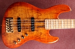 Fred Hammond Signature Bass-Honey Burst with  Spalted top - Bartolini B-Axis - Pike Audio Preamp