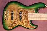 B stock  small scratch on pickup discounted $50.00   Fred Hammond Signature Bass- Vintage Green burst - Bartolini B-Axis - Pike Audio Blue Box Preamp