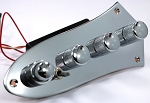 Bassmods MC3 preamp -Chrome J Plate - 3 Band 4 knobs with 3 position Mid Freq Select - Model: MC3