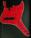 Red Pearloid Pickguard and Matching Control Plate (SET)- Available in 4 or 5 - Same as Sire size-