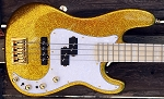 Gold Sparkle Q4 with Bartolini B-Axis Pickups ,Plek Job- Upgrade Bassmods pre with 3 position Mid Control