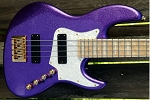 NEW MODEL! K424 Purple Sparkle Swamp Ash -   Bartolini 2 square J Quad Coils- Optional Preamps