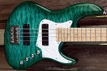 Deal Of the Week !NEW MODEL! K424 Quilted TealAlder -   Bartolini 2 square J Quad Coils- Bass Mods upgraded  3 band with mid Control -Optional  upgrade preamps