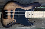 K534  Black  Spalt-Swamp Ash- Birdseye maple - - your choice of pickups and preamp
