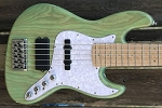 Trans light green stain KM5 -Swamp Ash - Maple - Bartolini Pickups Quad coil Bridge-  Optional Preamps
