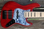 Red Stain  KM5 -Swamp Ash - Maple -Delano HE  Quad coil Bridge-   Upgraded with Bassmods 3 band with 3 position mid control