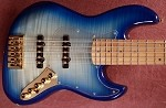 Discounted B stock -BMJ5-Aqua Blue- Bassmods Big Phatty pickups and Bassmods MC3 Preamp-