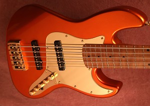 Discounted B stock -BMJ5-Burnt Orange- This one has a flame maple fretboad Bassmods Rej pickups with Bassmods MC3 Preamp-