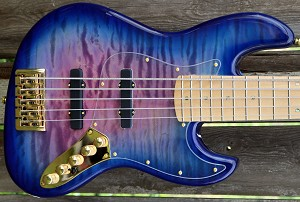 BMJ5- Purple burst with quilted top- Bartolini Deep tones and Bassmods MC3- Maple Neck