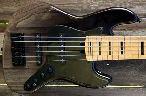 -K6 Black Vertical Fade-Swamp Ash- Birdseye maple Maple-Bassmods Big Phatty Pickups with Optional preamps