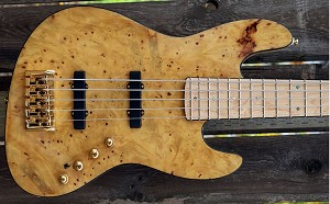 K534  Rear load Natural Burl--Swamp Ash - Birdeye maple fretboard- your choice of pickups and preamp