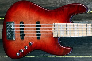K534  Red Burl  --Swamp Ash - Birdeye maple fretboard- your choice of pickups and preamp- Optional Control plate