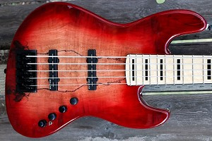 K534  3 Tone Red Spalt--Swamp Ash - -with Delano Time Square. pickups and Bassmods MC3 preamp