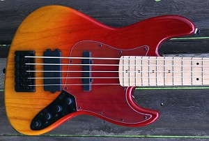 Vertical  Fire Fade  KM5 -Swamp Ash - Maple -Bartolini Pickups- Optional Preamp