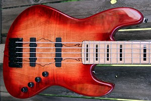 K534  3 Tone Red Spalt--Swamp Ash - - your choice of pickups and preamp