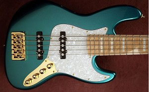 NPS -Nate Phillips Signature 5 string- Metallic Teal -  Birdseye Maple  - Delano Pickups  -Aguilar Preamp