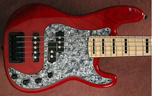 "Q534"" Premium  Alder - Red Stain - with Delano Fe- Bass Mods Preamp"