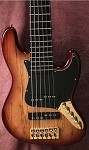 "K6  35""6-String Bass - Spalted Tan- Plek'd - Reed James Custom wound Pickups"