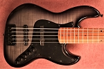 B stock BMJ5- Black Mint Flame- Bassmods Big Phatty and Bassmods MC3-    Roasted Maple Neck with black Dots